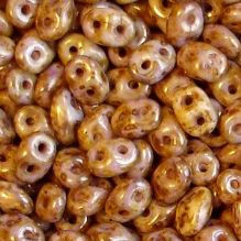 Superduo Beads Transparent Gold White Lustre - 10 grams